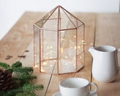 Geometric Terrarium, Large Card Box, Holiday Centerpiece, Copper Centerpiece, Terrarium Card Box, Large Glass Terrarium, Envelope Holder