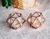 Geometric Glass Tealight Candle Holder | Set of 2 | Copper Wedding Decor, Sweetheart Table Decor, Holiday Lights, Christmas Decor