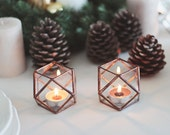 Copper Candle Holder Set, Wedding Candles, Rustic Candle Holder, Stained Glass Geometric Candles, Wedding Table Lights, Copper Wedding Decor