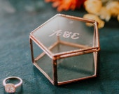 Customized Geometric Glass Wedding Ring Box, Custom Ring Holder with Initials, Personalized Wedding Ring Bearer Box, Copper Wedding Decor