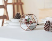 Geometric Copper Centerpiece, Fairy Garden House, Holiday Centerpiece, Stained Glass Geometric Terrarium, Winter Wonderland