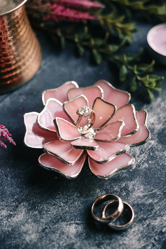 Stained Glass Flower Jewelry Dish Pink Ring Dish Engagement Etsy