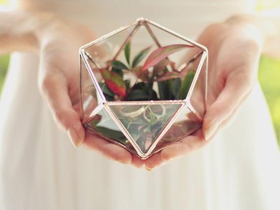 Stained Glass Wedding Ring Box, Ring Bearer Box, Geometric Terrarium Ring Box, Fall Wedding Decor, Engagement Ring Box, Proposal Ring Box