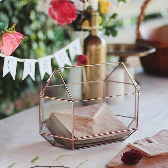 Wedding Card Box Gift Table: Large Geometric Glass Wedding Card Box Wedding Gift Table