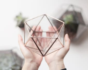 Geometric Terrarium Container, Copper Wedding Table Number Holder, Father's Day Gift, Succulent Planter, Glass Centerpiece, Wedding Decor