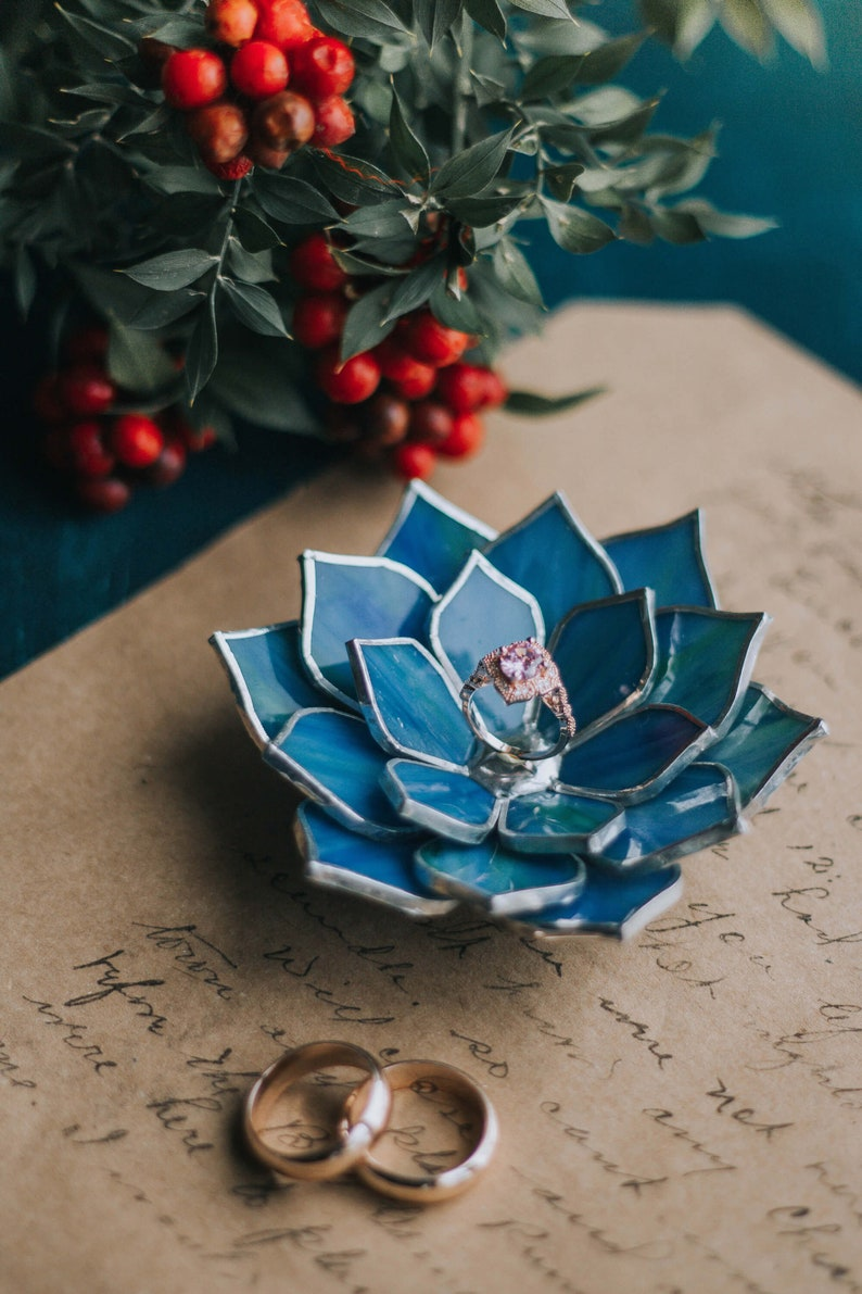Bride Gift Nature Inspired Fall Wedding Decor Stained Glass Succulent Jewelry Storage /& Wedding Ring Holder Dish Blue Ring Dish