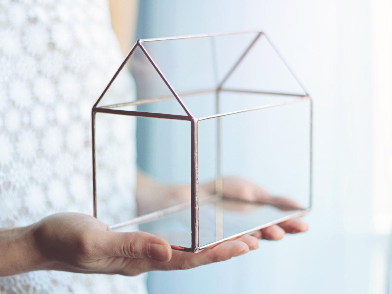 Glass House Fairy Garden House Geometric Terrarium Etsy