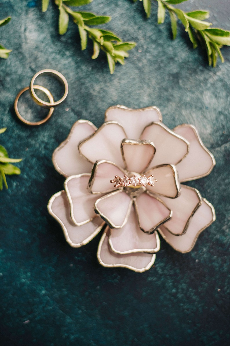 Pink Glass Flower Engagement Ring Holder /& Wedding Ring Dish Boho Wedding Decor SummerWedding Decor Bridesmaids Gifts Floral Ring Dish