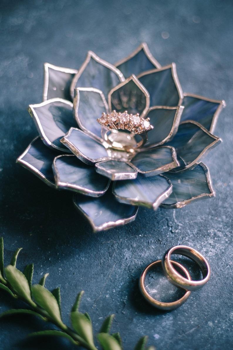 Wedding Ring Dish Glass Succulent Wedding Ring Holder Engagement Ring Dish Jewelry Dish Holder Spring Summer Wedding Decor