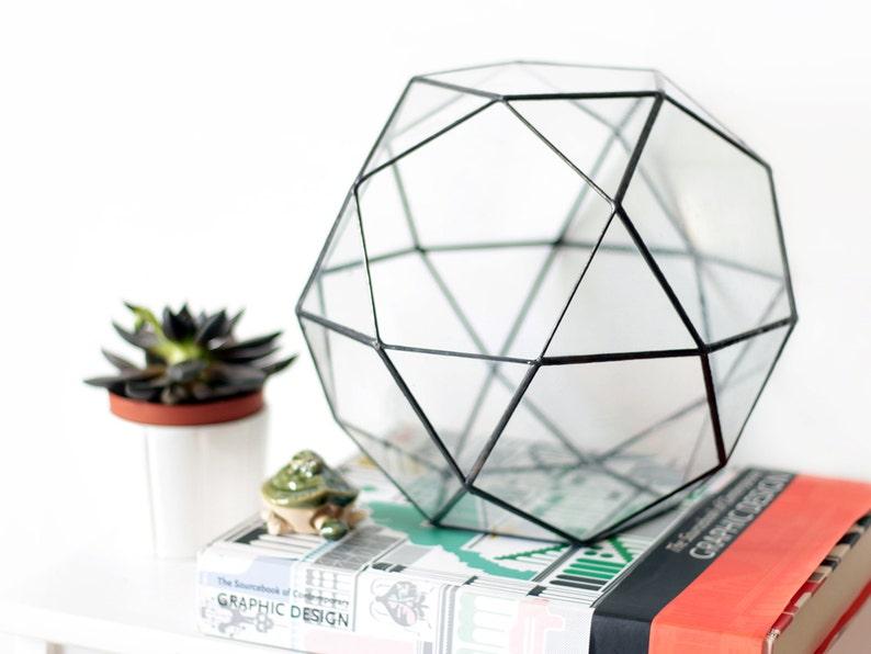 Large Glass Geometric Terrarium Container Succulent Planter Etsy