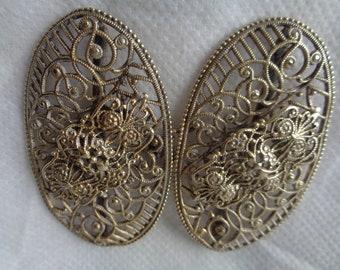 Ancien Français Art déco en filigrane boucle de ceinture composé de deux  ovales avec un crochet de fermeture. 1ebe8bfcaea