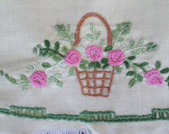SALE French Vintage Hand Embroidered Linen Floral Panel.