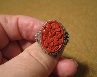 Amazing Antique Silver Carved Red Cinnabar Floral Chinese Ring 7.4 Grams.