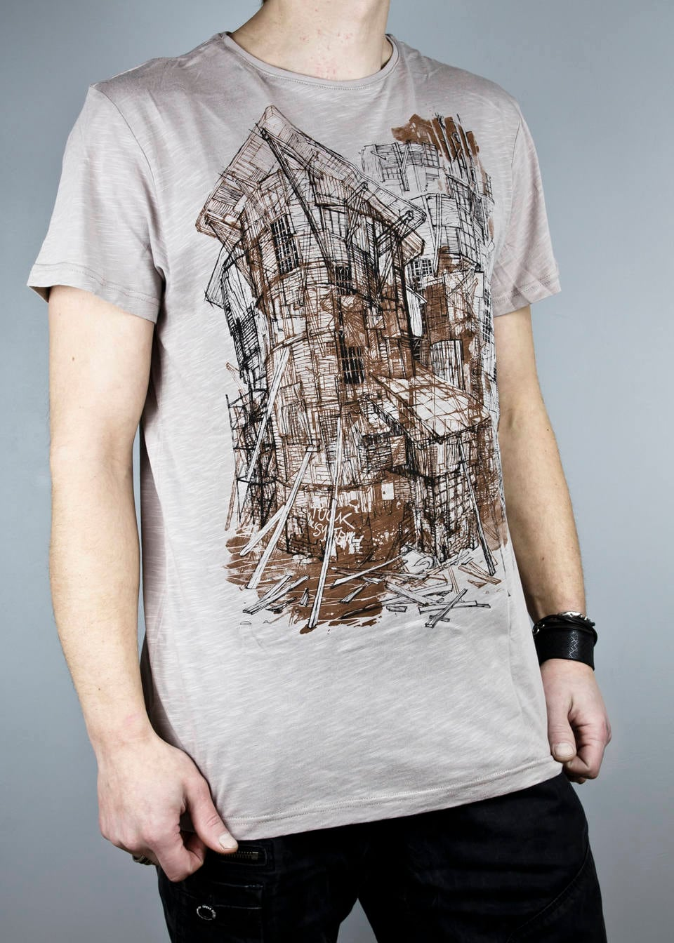 29d6f9e9d5e82 Architecture sketch on T shirt, Tee with houses, gray mens womens unisex  short sleeve top unique Latvian design art by cemme shirts handmade