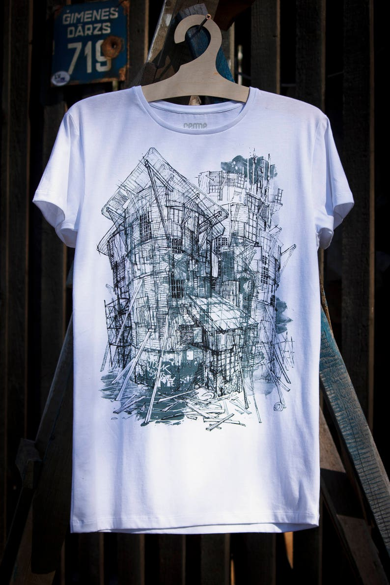 0b7bf7c50d2d5 Architecture sketch T shirt, Tee with houses, gray mens womens unisex short  sleeve top unique Latvian design art by cemme shirts handmade