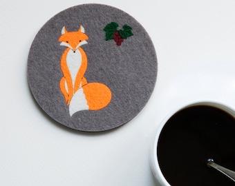 Felt animal Coaster  No.11 Red Fox, original design,