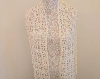 Ready to Ship Crochet Women's Brighten Up Cotton Merino Wool Scarf/Stole, Off White
