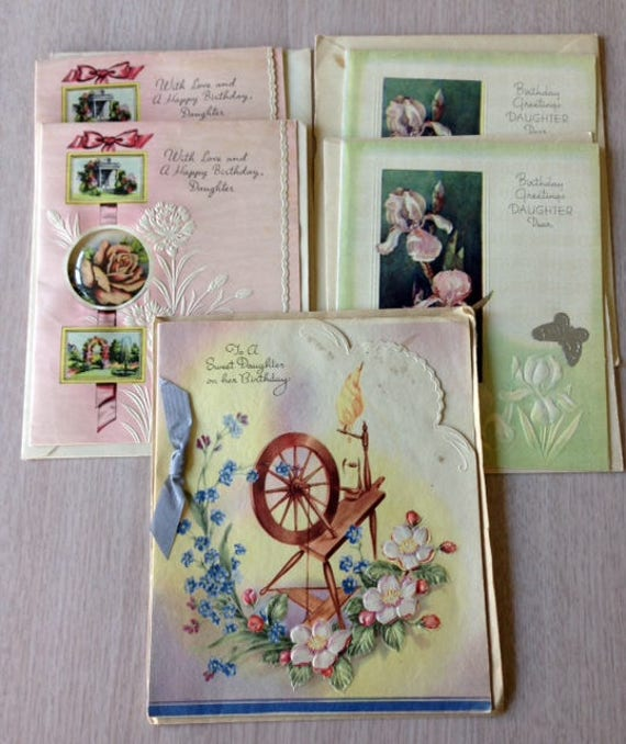 Birthday Greeting Cards Daughter Vintage 1940s 50s Etsy