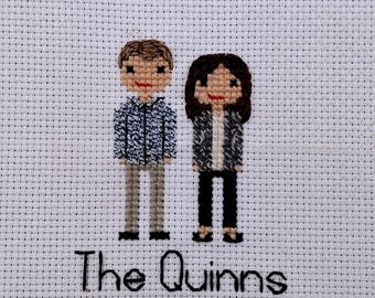 Custom Cross Stitch Family Portrait Realistic | Couple | Second 2nd Cotton Anniversary | Personalized | Engagement | Wedding | Gift  Present