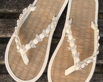 3d561c326 Ladies Wedding Flip Flops Hand Decorated with Roses and Rhinestone