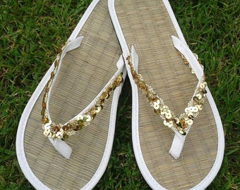 51eeb6b2bd7db Ladies Straw Wedding or Beach Flip Flops Sequin Sparkle