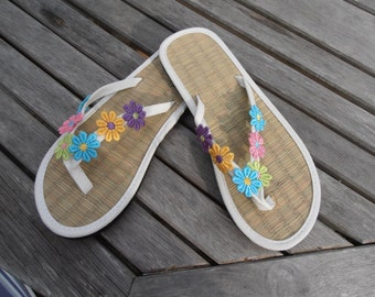 5f595210949cb Hand Decorated Straw Flip Flops ideal to match a special outfit or for a  wedding