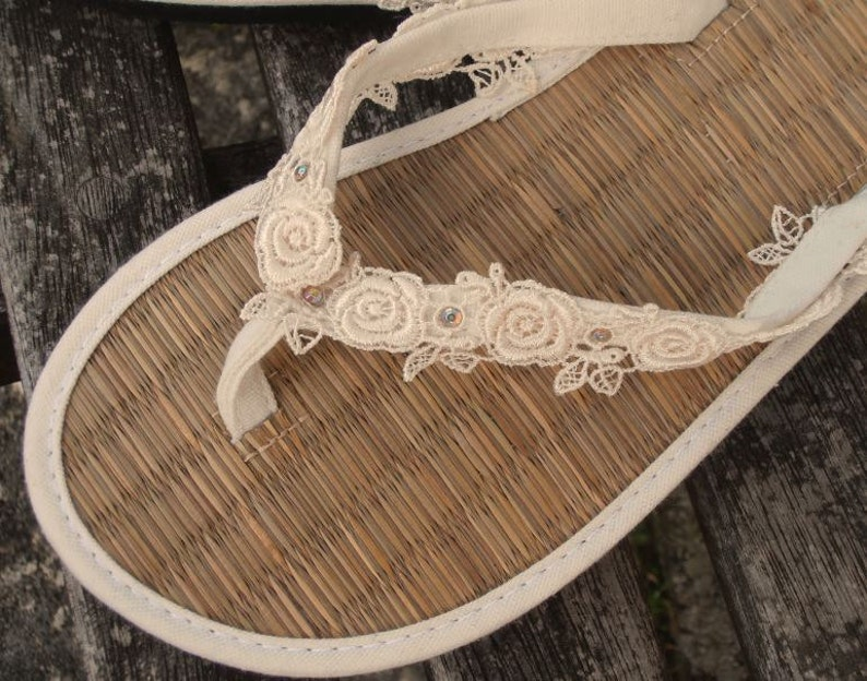 676b661c0 Ladies Straw Wedding Flip Flops Hand Decorated Ivory Canvas