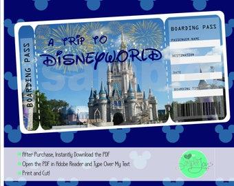 printable ticket to disney disneyworld disneyland boarding etsy