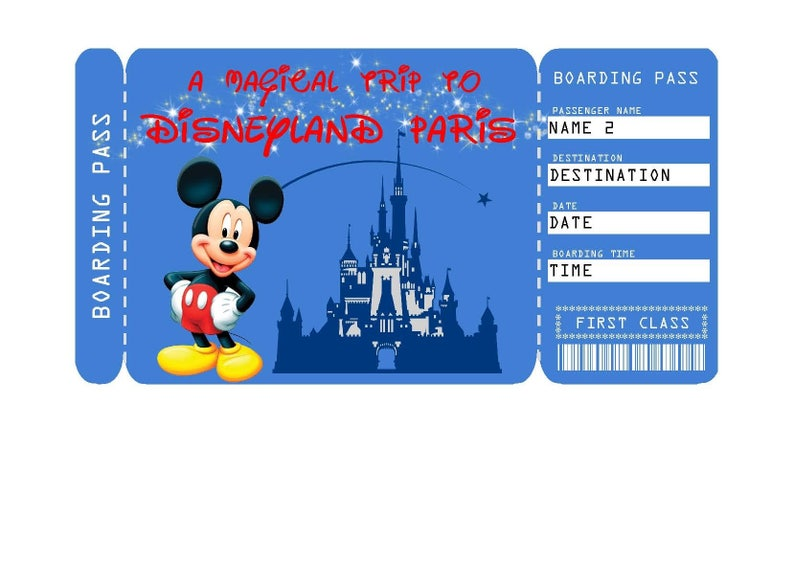 graphic relating to Printable Disney Tickets referred to as Printable Ticket in the direction of Disneyland Paris Boarding P, Customizable Template, Electronic History - Oneself Fill and Print