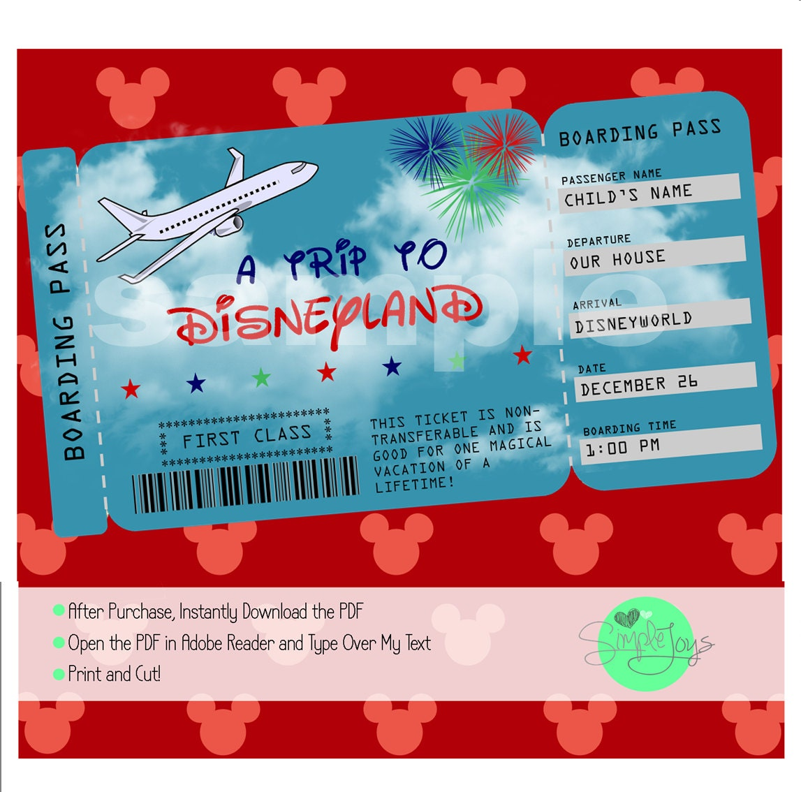 image relating to Printable Tickets known as Printable Ticket towards Disney (Disneyworld/Disneyland) Boarding P, Customizable Template, Electronic Document - Yourself Fill and Print