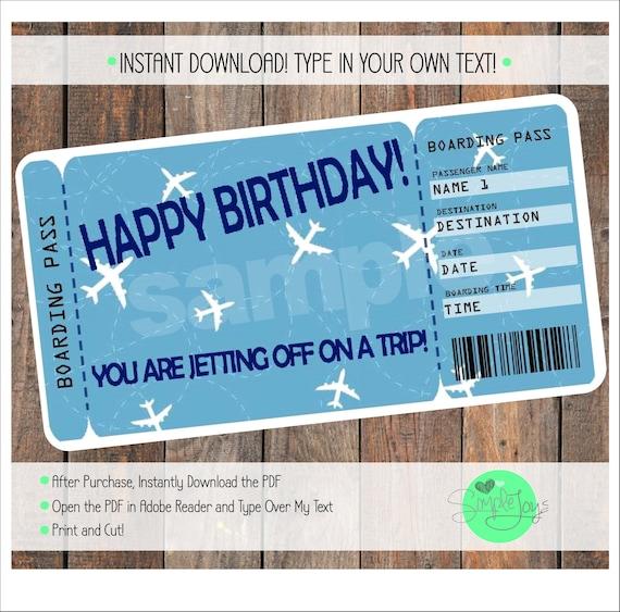 Printable Birthday Surprise Vacation Trip Boarding Pass Ticket Etsy