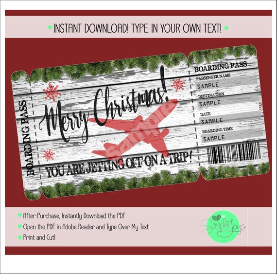 Printable Christmas Vacation Surprise Trip Boarding Pass Etsy