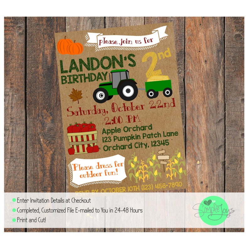 Fall Themed Birthday Invitation Apple Orchard Pumpkin Patch