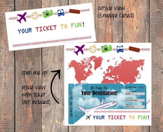 Printable Envelope Sleeve Jacket For Vacation Surprise Ticket Etsy