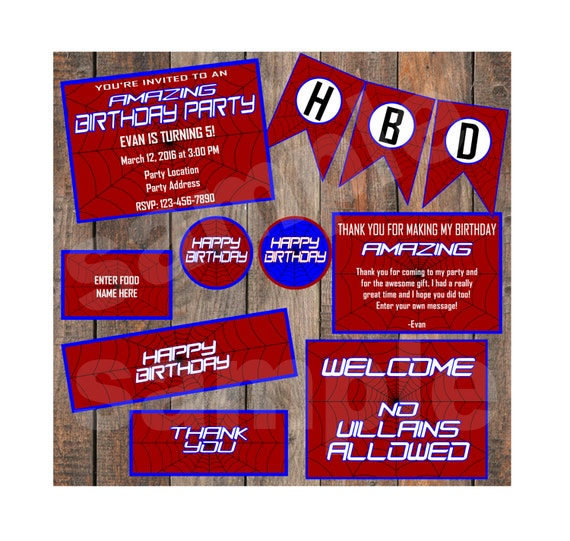 Amazing Spiderman Birthday Instant Party Package Template