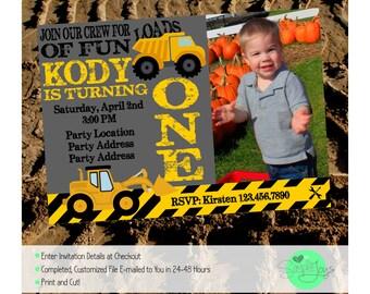 Construction Trucks Birthday Invitation - Personalized, Digital File - We Customize, You Print!