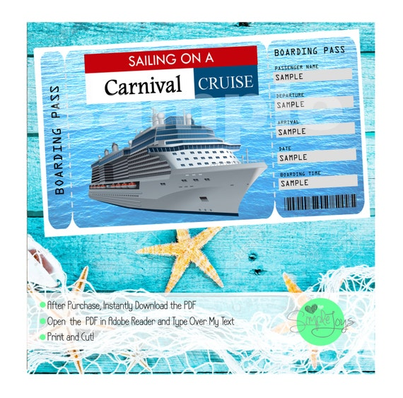 carnival cruise printable ticket boarding pass customizable etsy