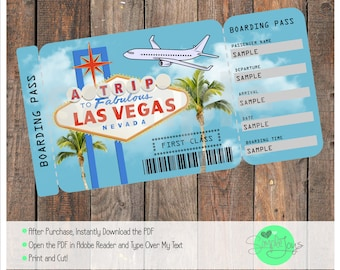 Printable Ticket to Las Vegas Boarding Pass, Customizable Template, Digital File - You Fill and Print