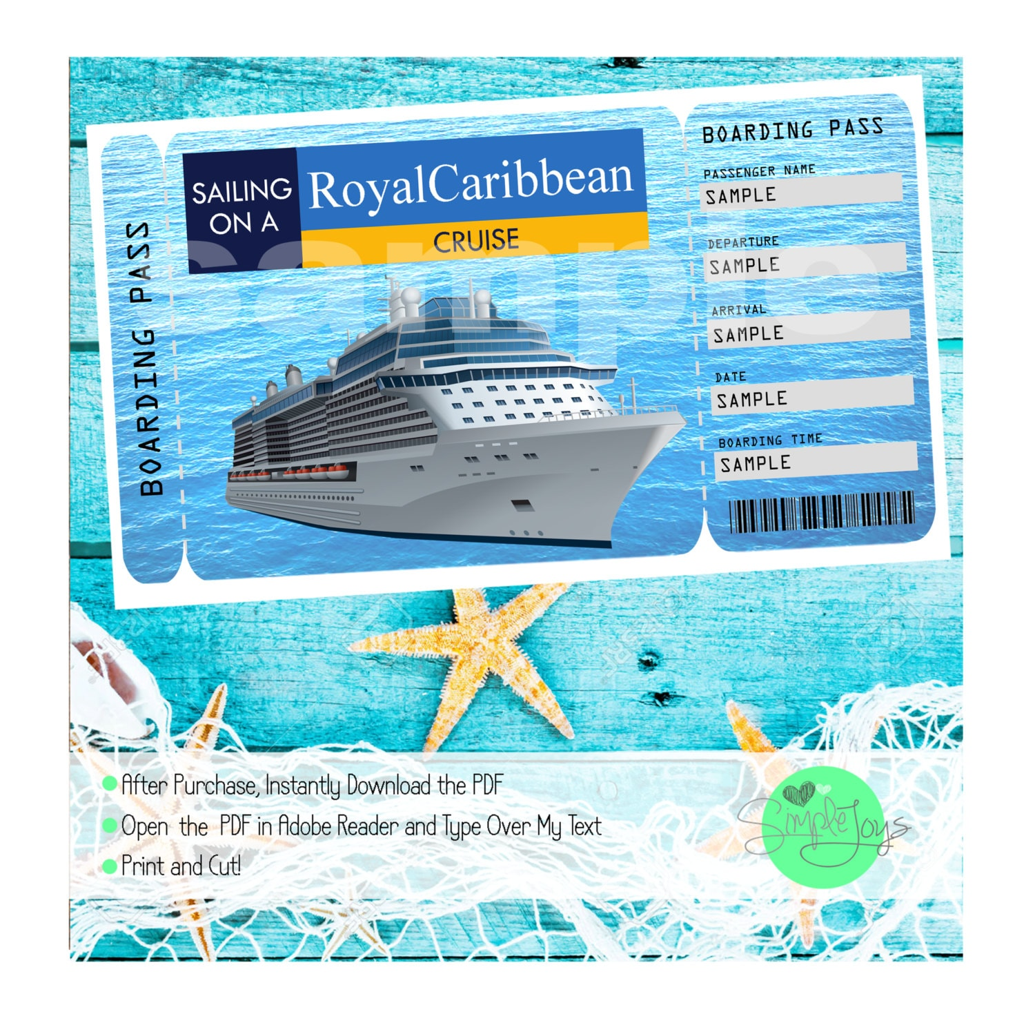 Royal Caribbean Cruise Printable Ticket Boarding Pass Etsy