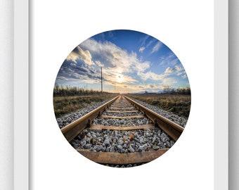 Train Photography, Trains, Train Photography, Train Landscape Photo, Printable Art Train Tracks, Railroad Tracks, Railroad Picture Printable