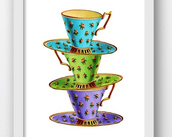 Teacup, Teacup Art, Printable Teacups, Stacked Teacups, Print Teacups, Clipart Teacups, Teacups Clipart, Printable Vintage Teacups