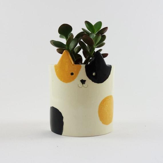 Cat Pot 3D Printed Cat Planter Low-Poly Succulent Planter Modern Planter