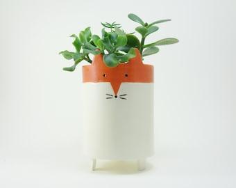 Large Ceramic Planter - Animal Plant Pot - Fox Pottery Succulent Planter