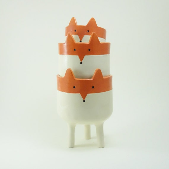 Sass /& Belle Orange Glaze Ceramic Three Legged Planter 7cm Indoor Plant Pot