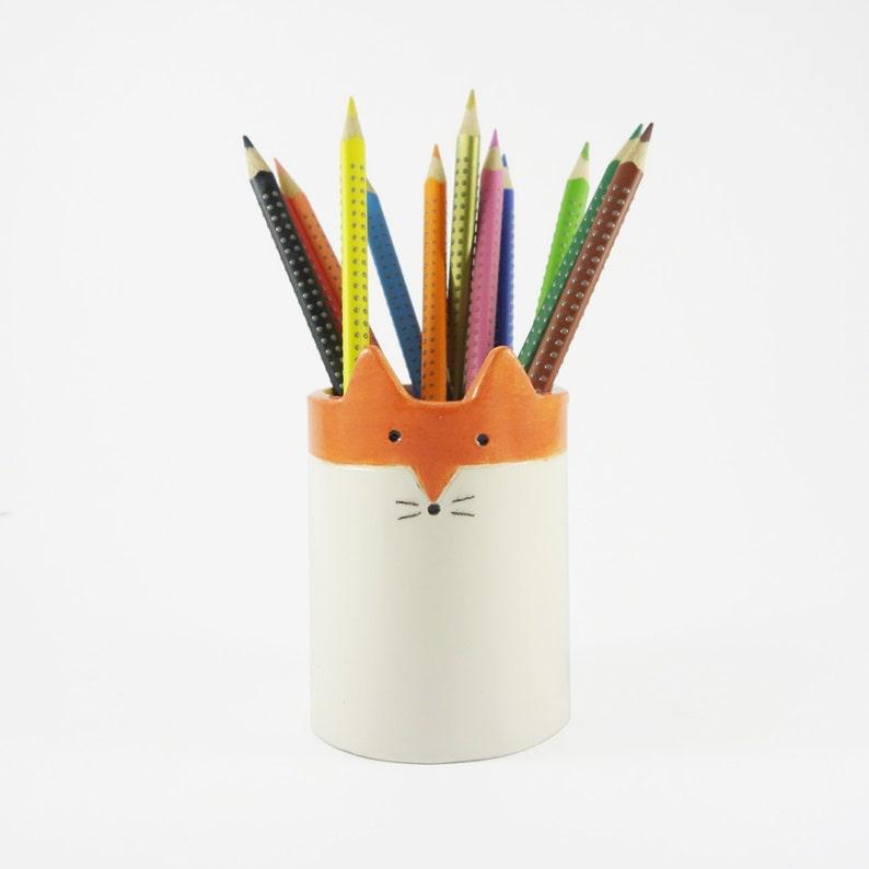 Pen Pot Ceramic Fox White and Orange Pot Brush Holder image 0