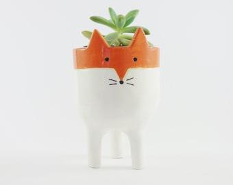 Little Tripod Fox Planter, Fox Face Plant Pot, Handmade Ceramic Studio Pottery