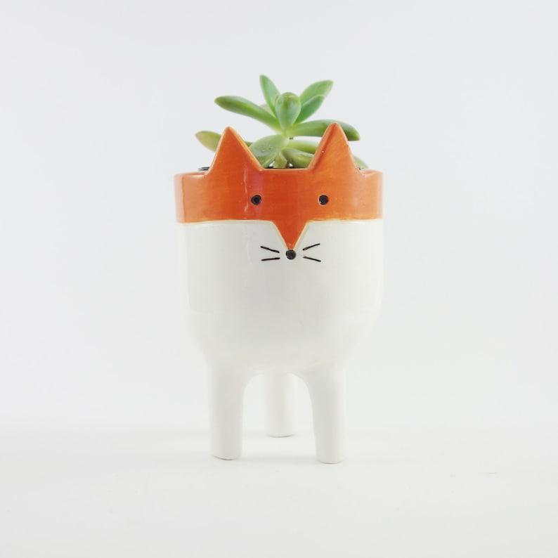 Little Tripod Fox Planter Fox Face Plant Pot Handmade image 0