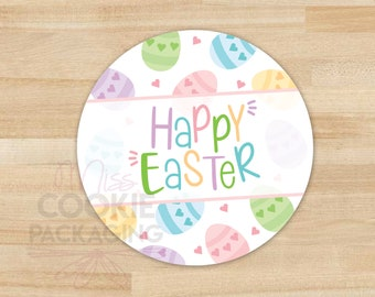 Pastel Easter Eggs Cookie tag Happy Easter 2 Cookie Tag Colorful Easter Eggs Gift Tag Pastel Easter Egg and Dots Cookie Packaging Tag