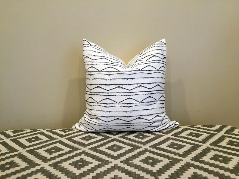 White and navy pillow pillow cover 18x18 pillow covers image 0