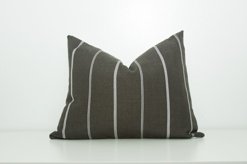 Grey Classic Stripe Grey and white Sofa Pillow Cover grey image 0